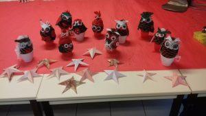 Nous avons conçu des chouettes originales et rigolotes... et des étoiles...